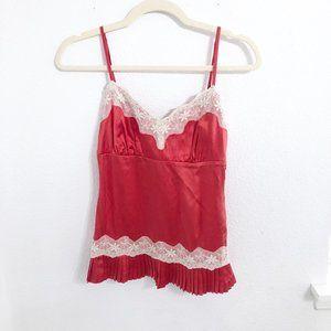 Arden B Red Silk Pleated Hem Camisole